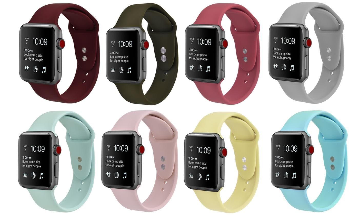Silicone Sport Replacement Band for Apple Watch Series 1, 2, 3, & 4 $7.97