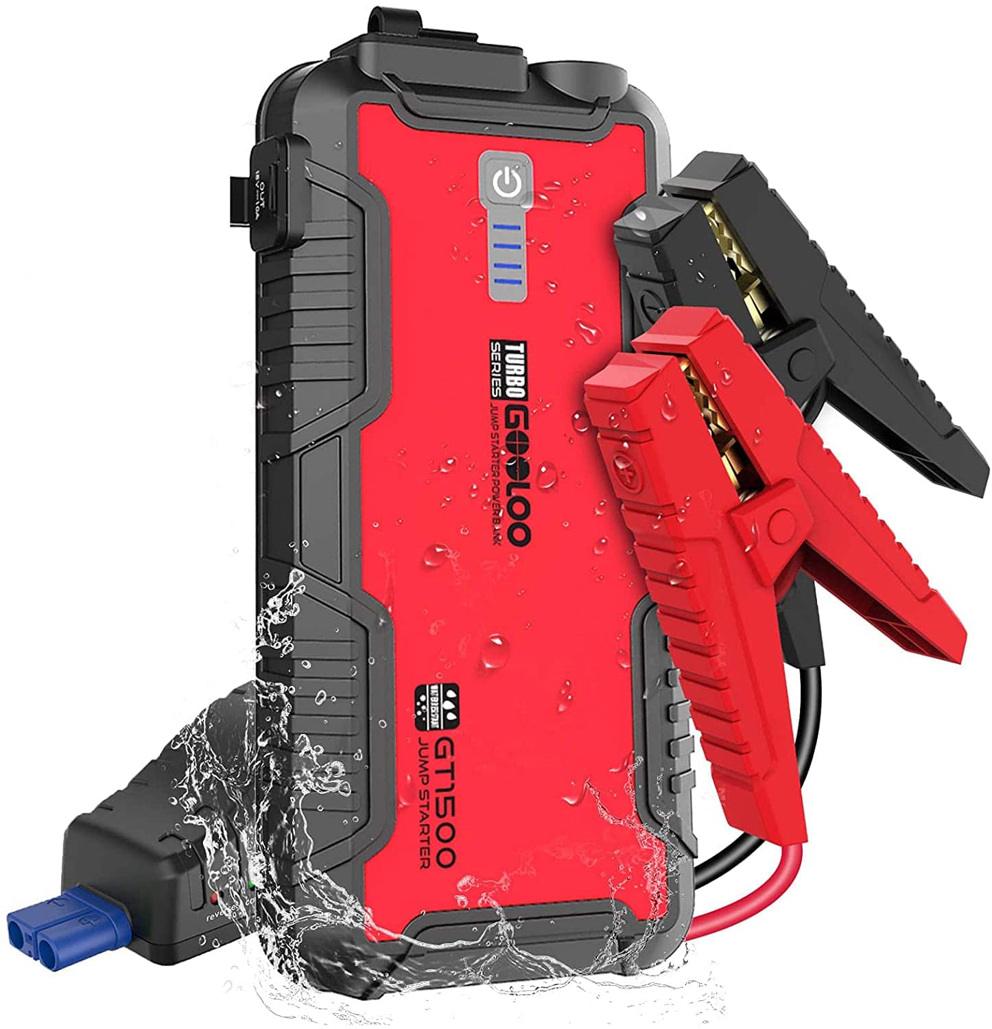 Gooloo 12V 1500A Peak Jump Starter Water Resistant Car Booster for Up to 8.0L Gas or 6.0L Diesel Engine $43.43