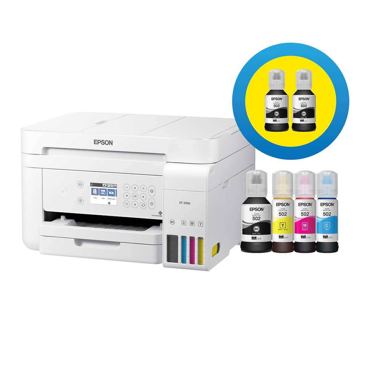 Epson EcoTank ET-3760 Special Edition All-in-One Wireless Printer with Two Bonus Black Ink Bottles 5/19-6/13 $279.99
