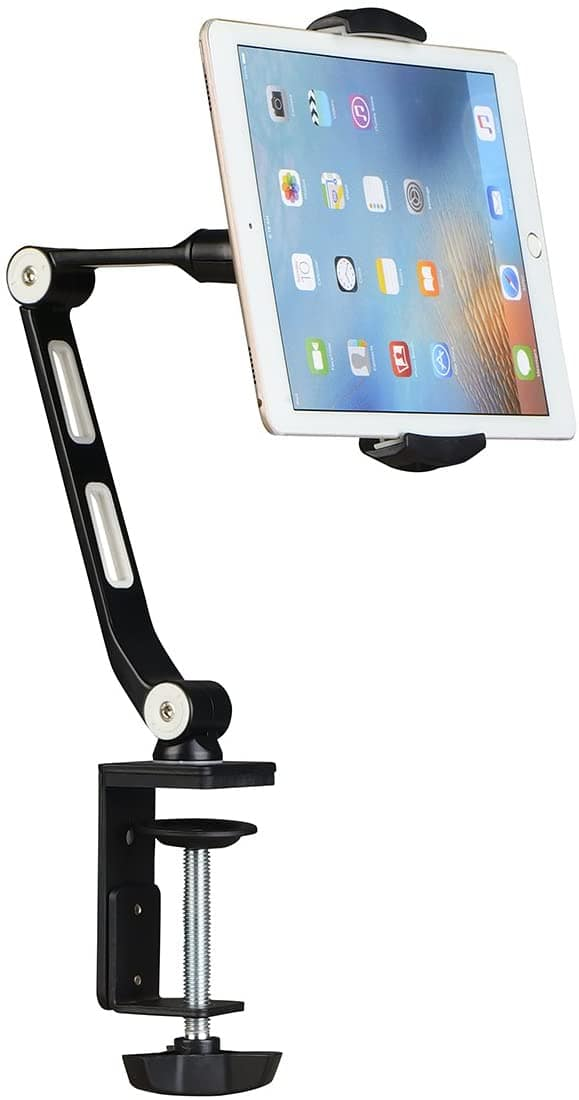 Suptek Aluminum Alloy Cell Phone Desk Mount Stand,  Tablet Stand and Holders Adjustable for iPad, iPhone, Samsung, Asus $21.99