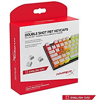 HyperX Double Shot PBT Mechanical Keycap Set (White or Black) Pudding $17.99