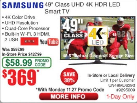 "Samsung 49"" Class (48.5"" Actual Diagonal Size) MU6290 Series 4K UHD TV $369"