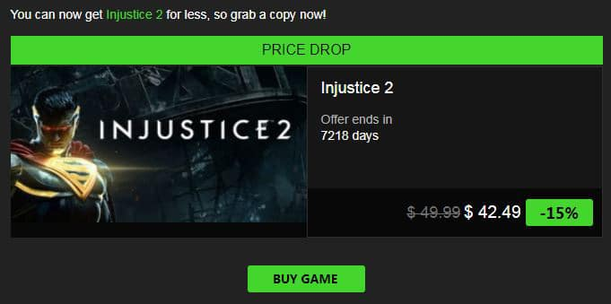 INDIEGALA - Injustice 2 is now 15% off -  $42.49