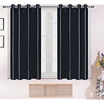 Persunhome Silky Drape Panel Top Chrome Metallic Grommet Window Curtain Treatment Drap, Black(52x63-inch,2 Panels) $9.5 + FS w/Prime
