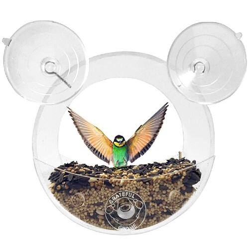 Grateful Gnome - Original Circular Window Bird Feeder - Clear Acrylic House for Small Wild Birds Like Finch and Chickadees + FS w/ Prime $5.90