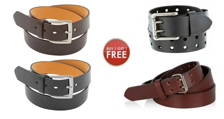 [BOGO] Men's Genuine Leather Solid or Double Prong Belts $8.97 + Free Shipping