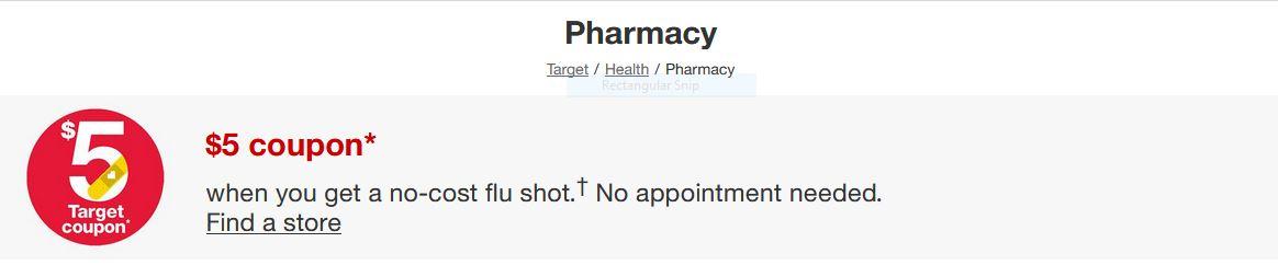 Get a free $5 Target coupon when you get a flu shot at CVS Target locations