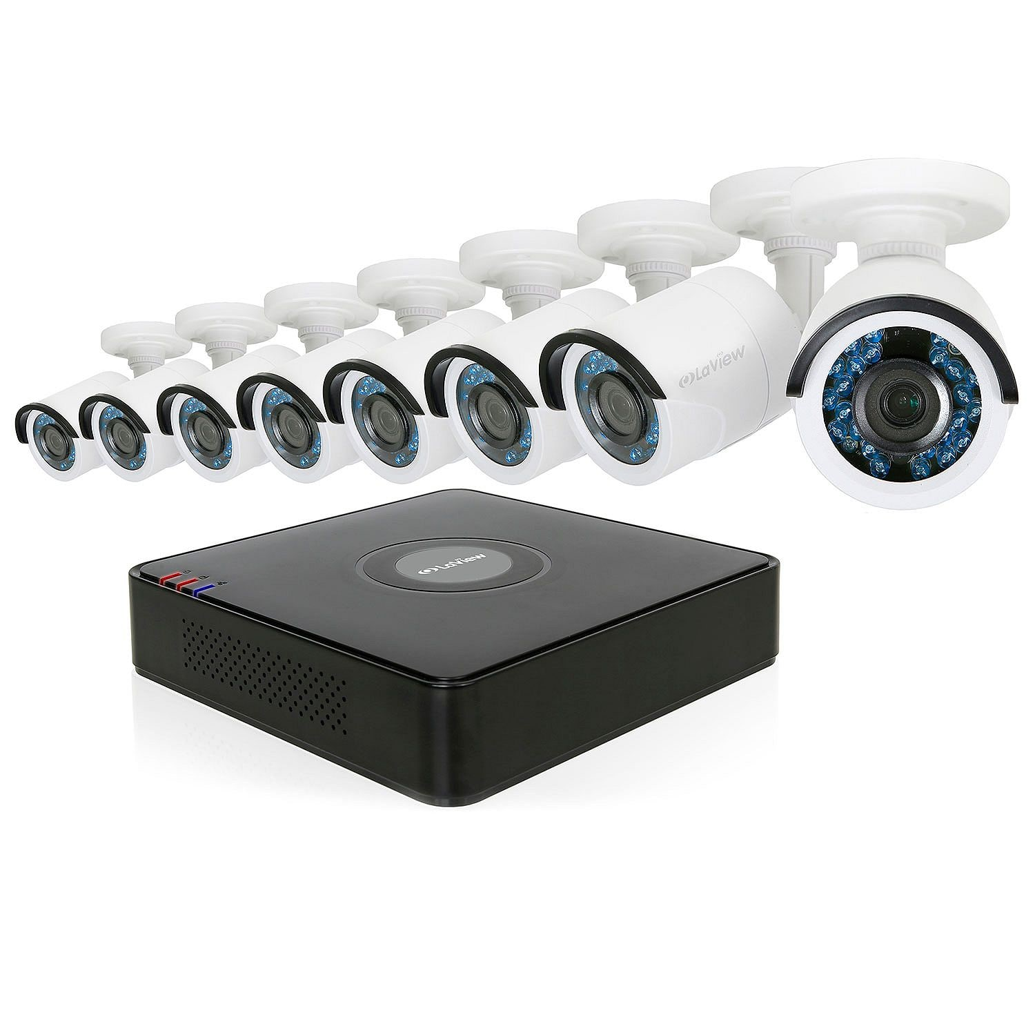 $280+Tax Analog DVR Surveillance System LaView 8-Channel 1080p HD-TVI with 2TB Hard Drive + 1 Bonus IP Channel, 8x 1080p Bullet Cameras with Remote View, and 65' Night Vision