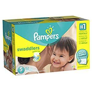 $25.58 Prime  Pampers Swaddlers Diapers Size 5, 152 Count (One Month Supply)