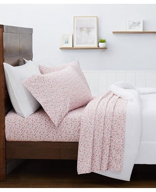 (YMMV) Martha Stewart Collection 3-Pc. Any size , Printed Microfiber Sheet Set, Created for Macy's (in store price) $8.99