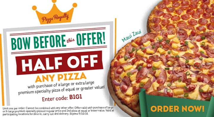 Round Table Pizza Buy One Large/Extra Large Specialty Pizza, Get 2nd Pizza ½ off