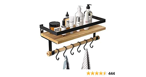 Floating Shelf with Removable Towel Bar and 6 Hooks - $6 Free Prime Shipping AC