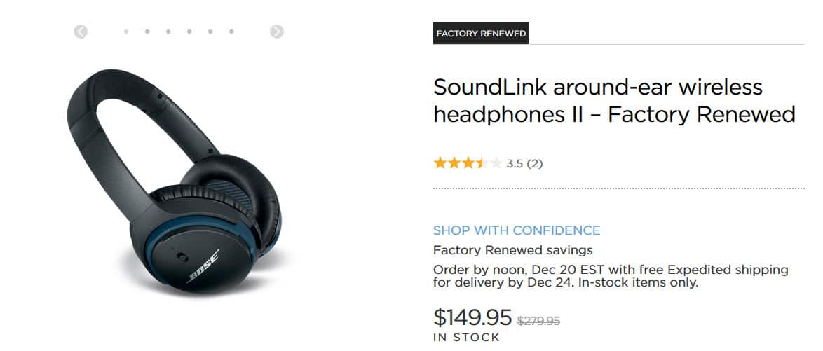 Factory Renewed SoundLink around-ear wireless headphones II $149.95