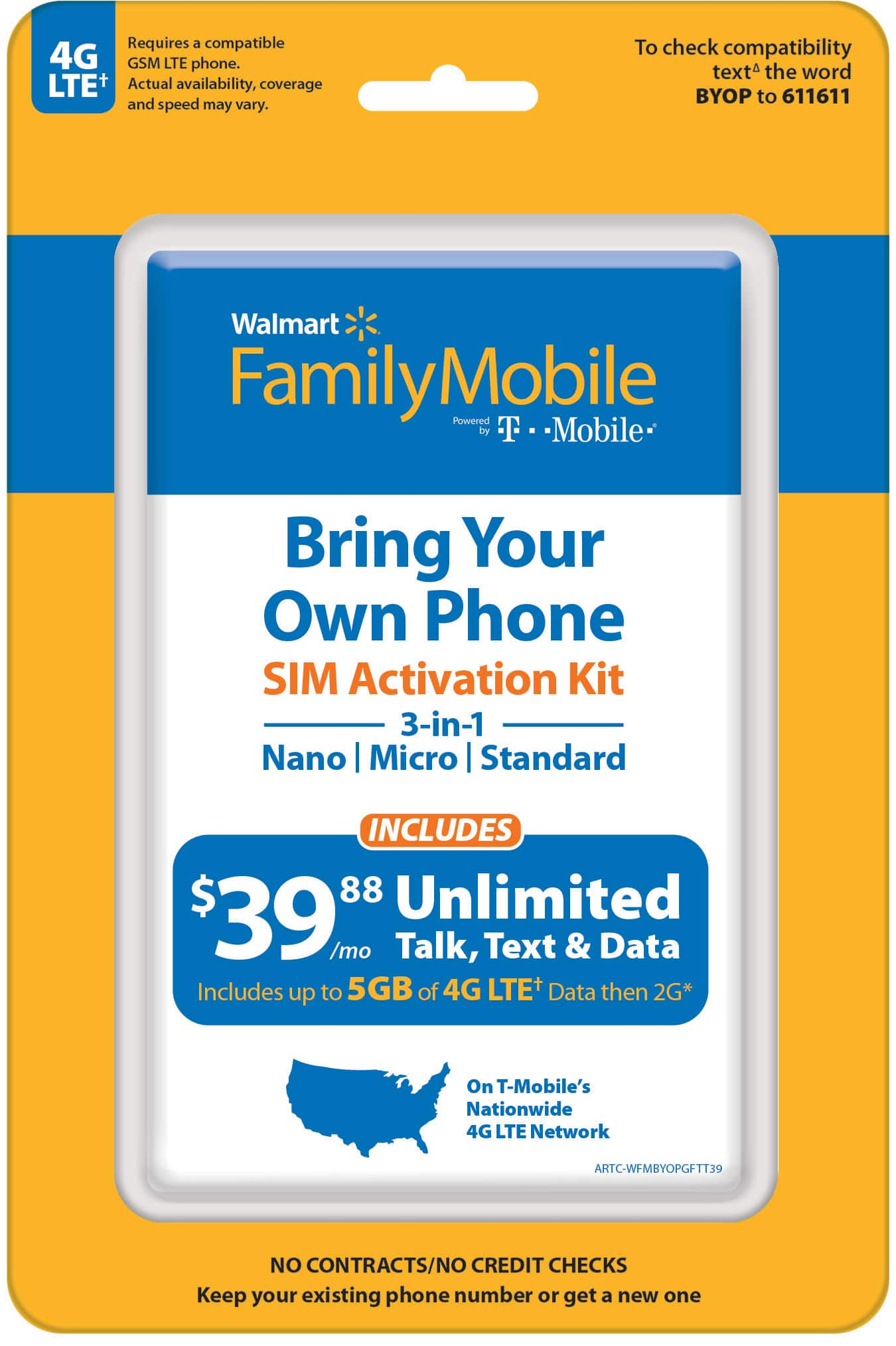 Walmart Family Mobile Bring your own phone $2.06