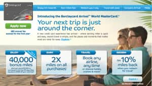 $340.00 Cash or $400 in travel from $1,000 Credit Card Spend - Barclay's Arrival at Creditcards.com
