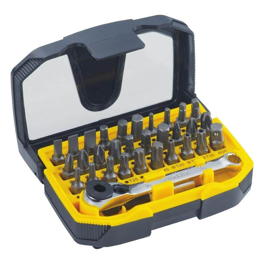 Stanley 32-Piece Screwdriver SPECIALTY driver Bit Set Ratcheting wrench $8.98 or Kobalt 24 Piece $10.98 @lowes