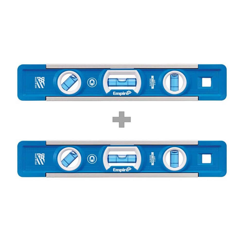 back in stock (2) two Empire True Blue 9 in. Professional Torpedo Level with Free True Blue 9 in. Professional Torpedo Level $9.97 @homedepot