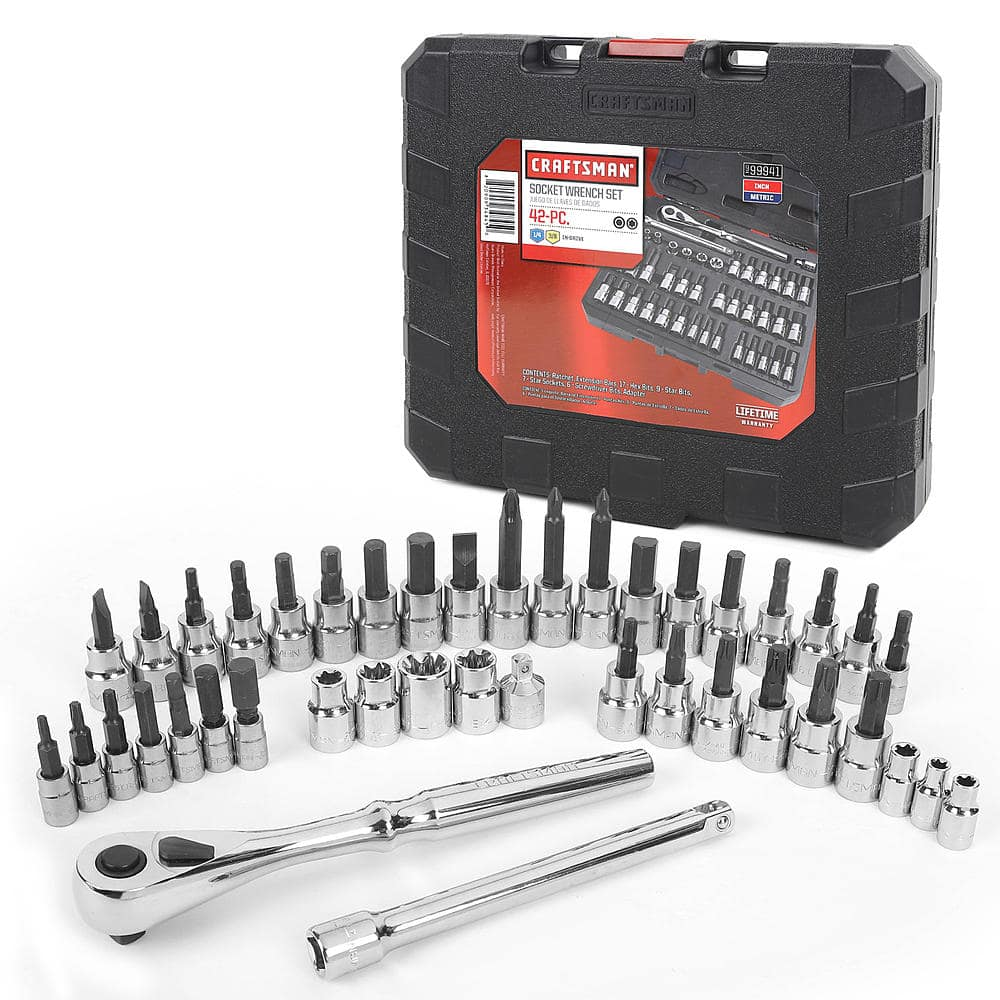 Craftsman 42 piece 1/4 and 3/8-inch Drive Bit and Torx Bit Socket Wrench Set $29.99 w/ $20 cashback points @sears