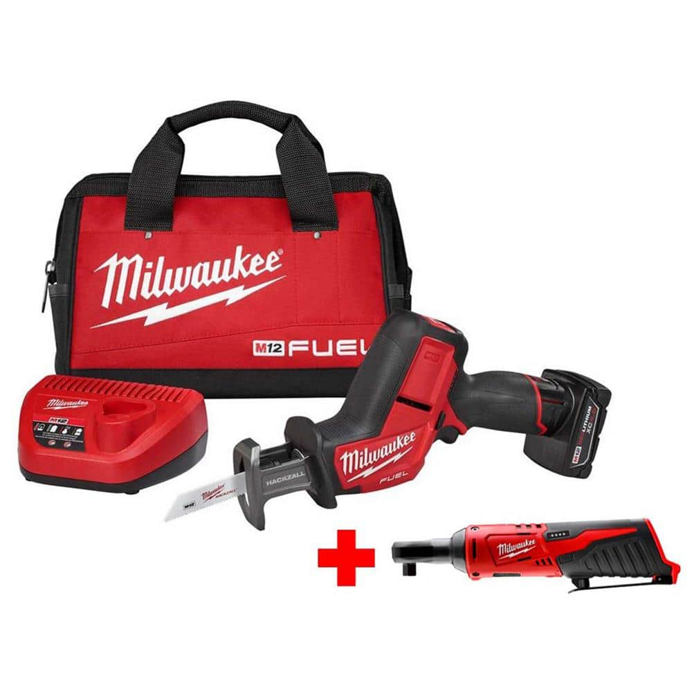 Milwaukee M12 FUEL 12-Volt Lithium-Ion Brushless Cordless HACKZALL Reciprocating Saw Kit Free 3/8 in. Ratchet + REDLITHIUM XC 4.0 $179 @homedepot