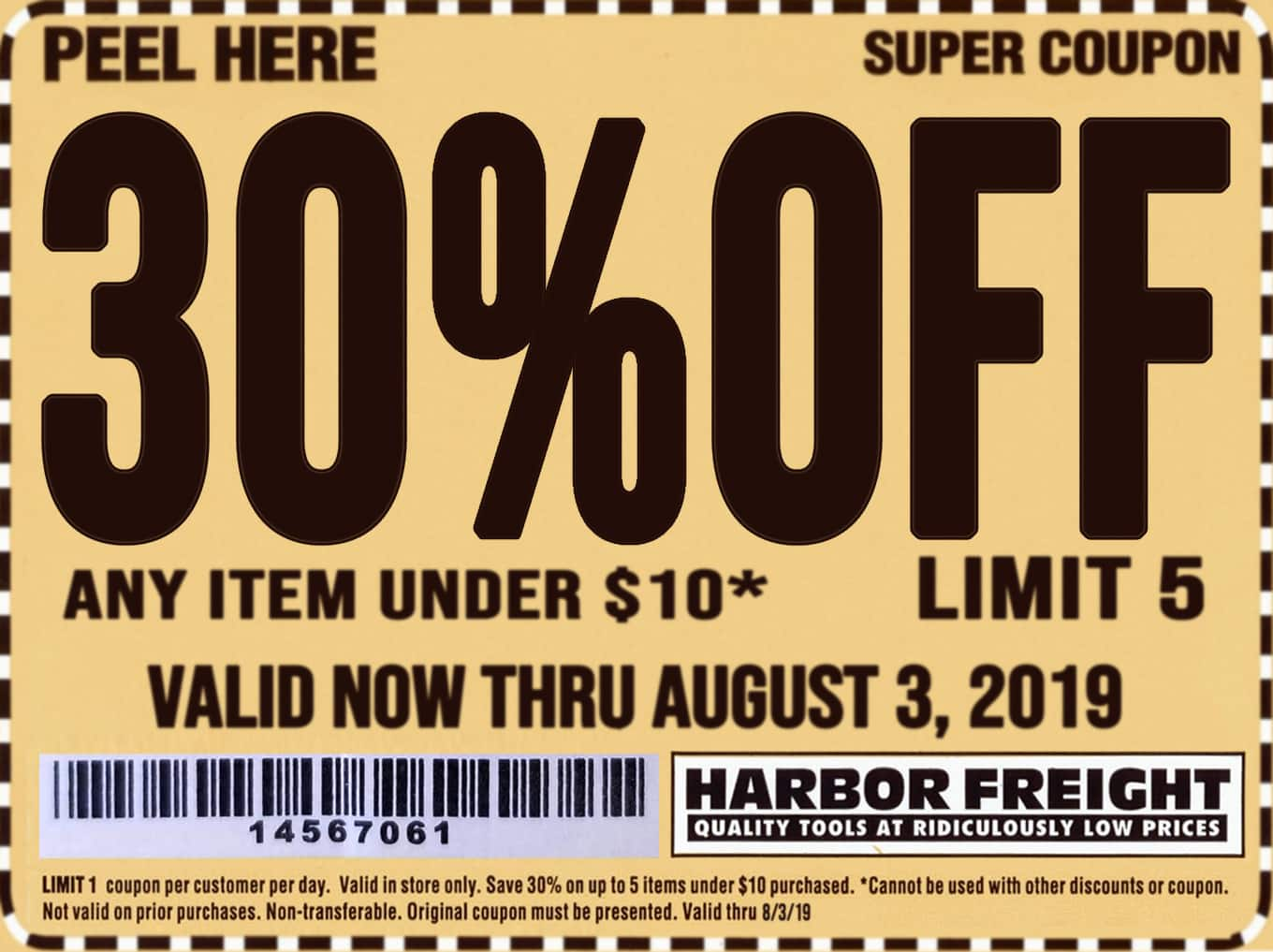 30% off coupon Any item under $10 Harbor Freight Expires Aug 3 @harborfreight