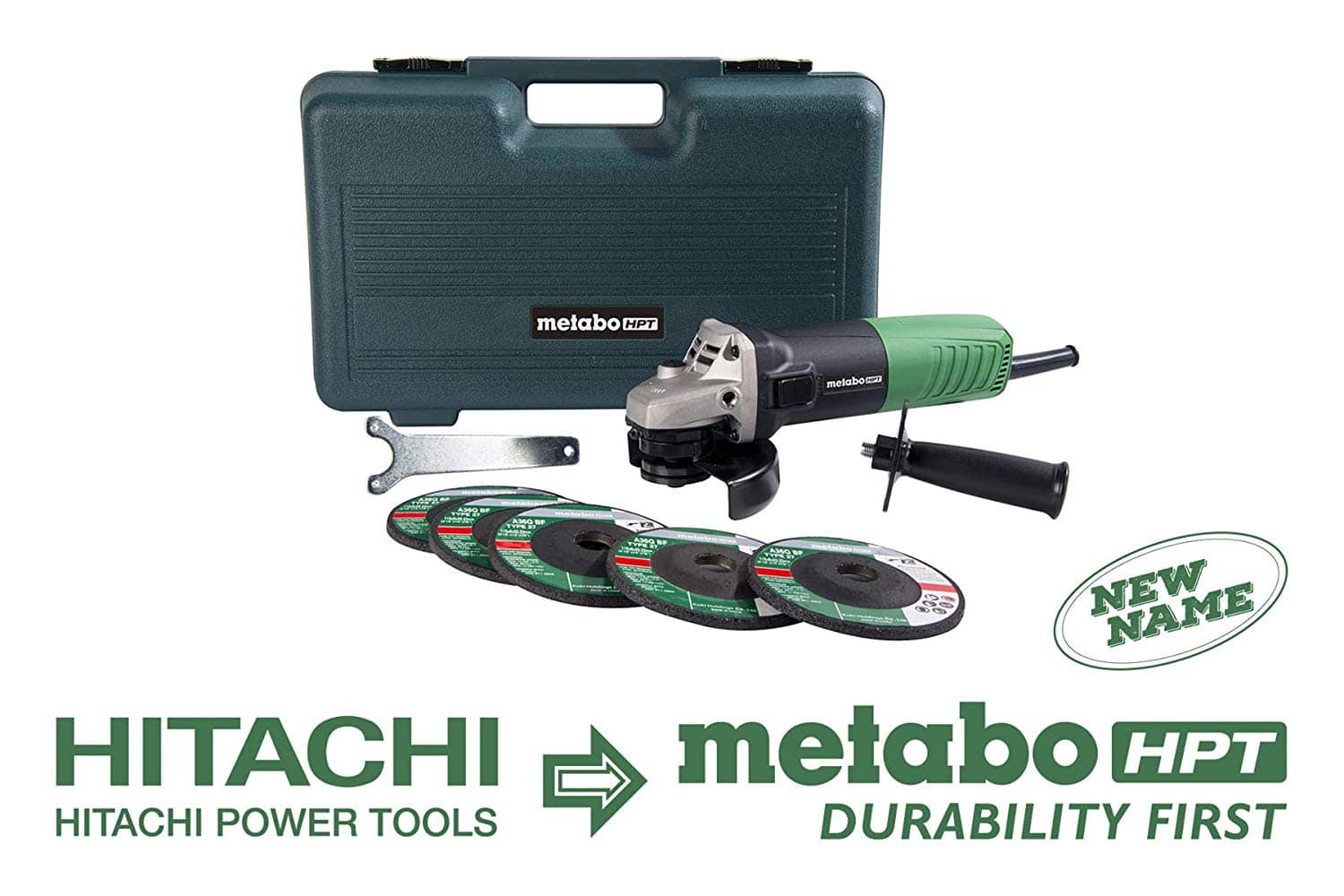 """Metabo HPT Angle Grinder, 4-1/2"""", Includes 5 Grinding Wheels & Hard Case, 6.2-Amp Motor, Compact & Lightweight, 5 Year Warranty, G12SR4 $29.00 @amazon or lowes"""