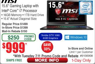 "MSI GS63VR Stealth Pro-422 15.6"" Gaming Laptop, i7 6700HQ, 16GB RAM, GTX 1060 6GB, 1TB HDD $999.99AR"