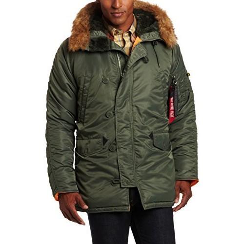 Alpha Industries Men's N-3B Slim-Fit Parka Coat with Removable Faux-Fur Hood Trim [Sage/Orange, Small] $72