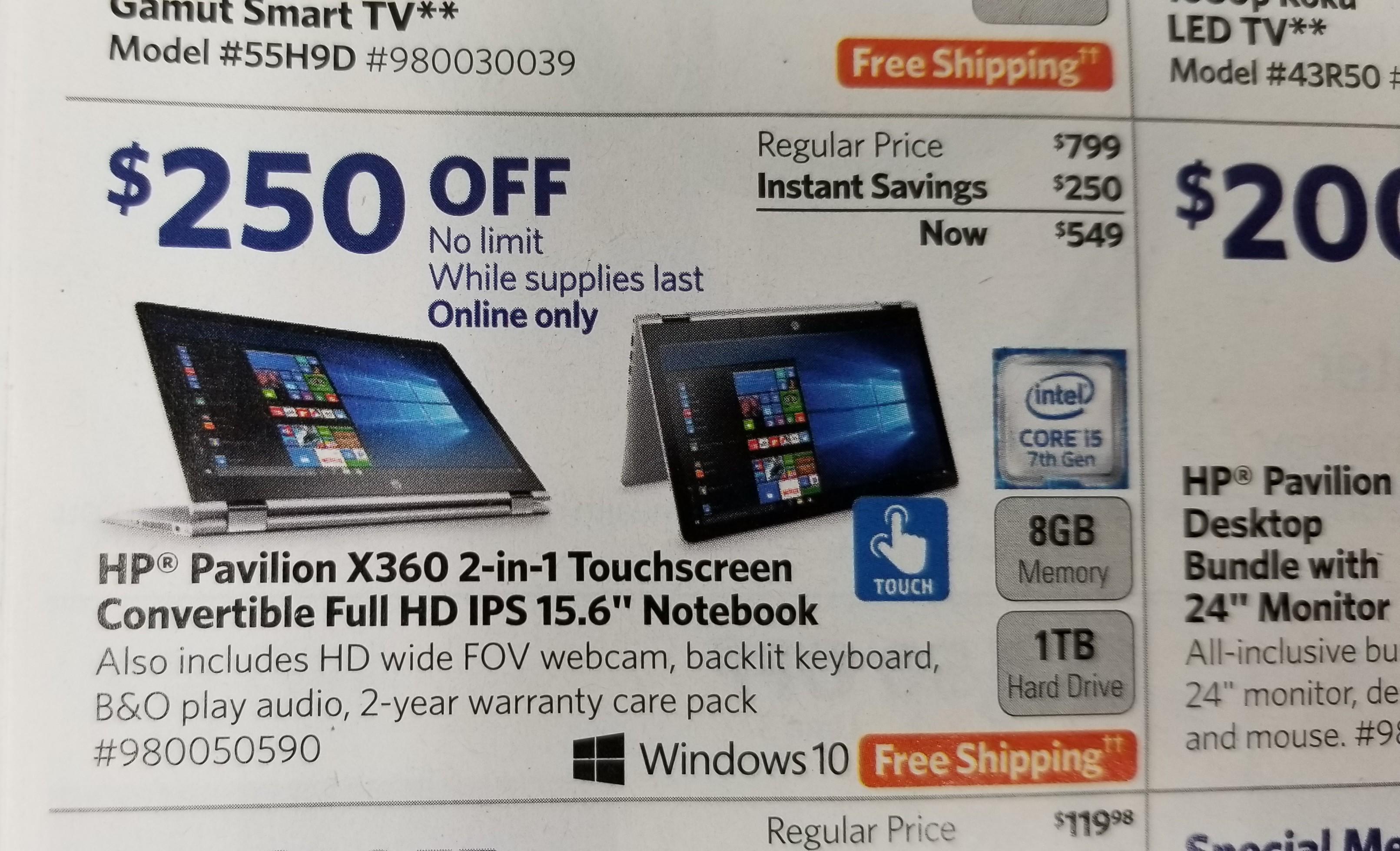 Sam's Club HP Pavillion X360 2 in 1 IPS 15.6in Notebook $549 begins Dec 1