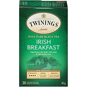 Twinings of London Irish Breakfast Black Tea Bags, 20 Count (Pack of 6) for $7.2