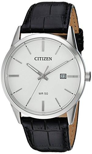 Citizen Men's Quartz Case and Black Leather Strap Watch [Black] for $48.98