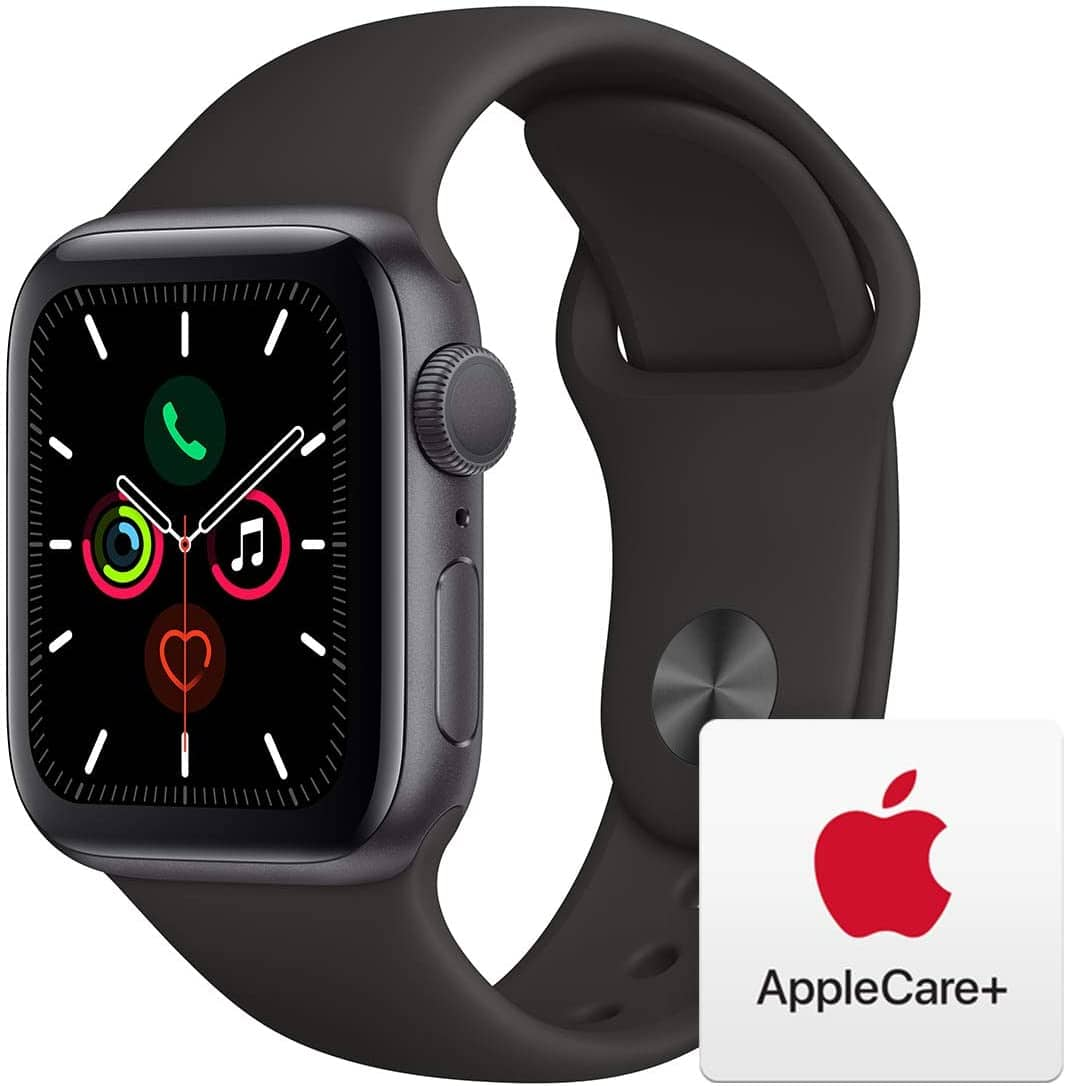Apple Watch Series 5 (GPS, 40mm) - Space Gray Aluminum Case with Black Sport Band with AppleCare+ Bundle for $359.99