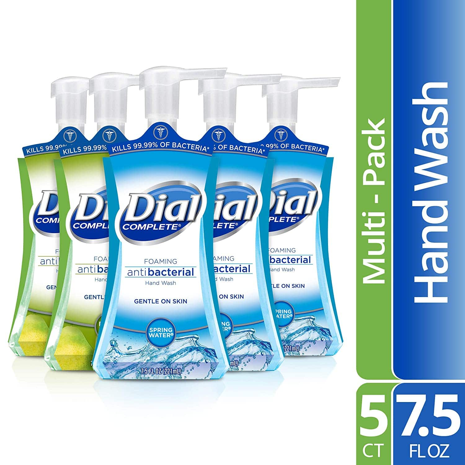 Dial Complete Antibacterial Foaming Hand Soap, 2-Scent Variety Pack, Spring Water/Fresh Pear, 7.5 Fluid Ounces Each (Pack of 5) for $12.49