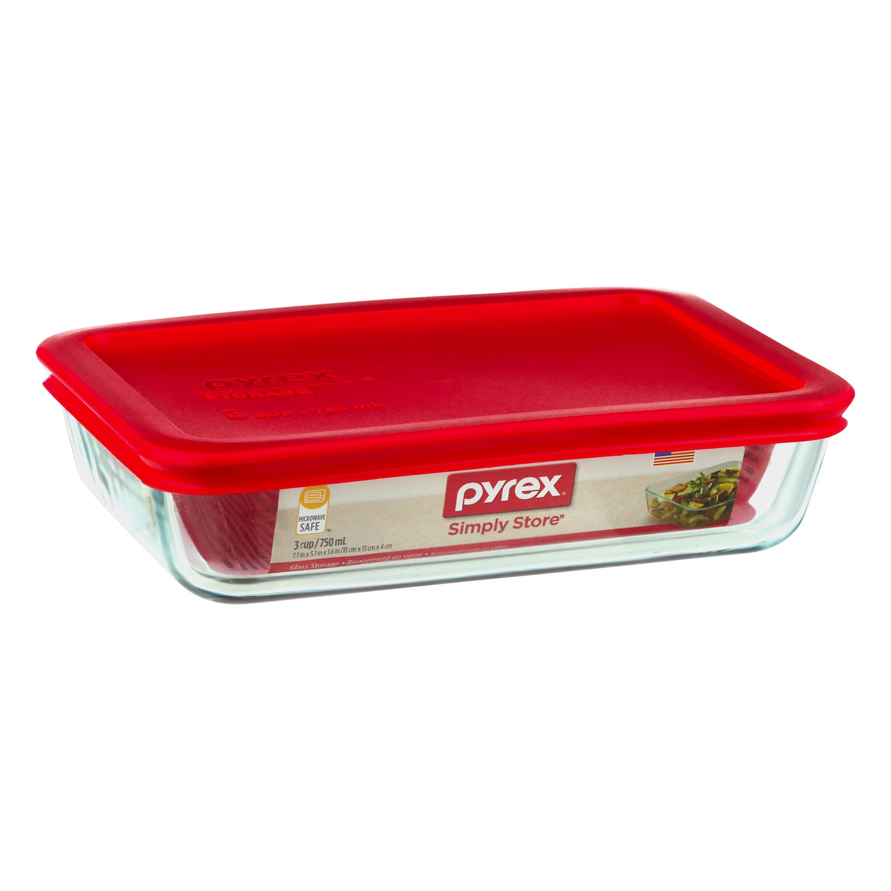 Pyrex Rectangular Food Storage, Glass, 3-Cup, Red for $4.87