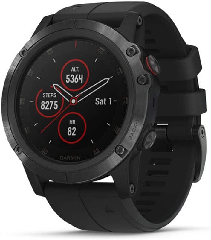 Garmin fenix 5 Plus, Premium Multisport GPS Smartwatch, Features Color Topo Maps, Heart Rate Monitoring, Music and Contactless Payment, Black with Black Band for $329