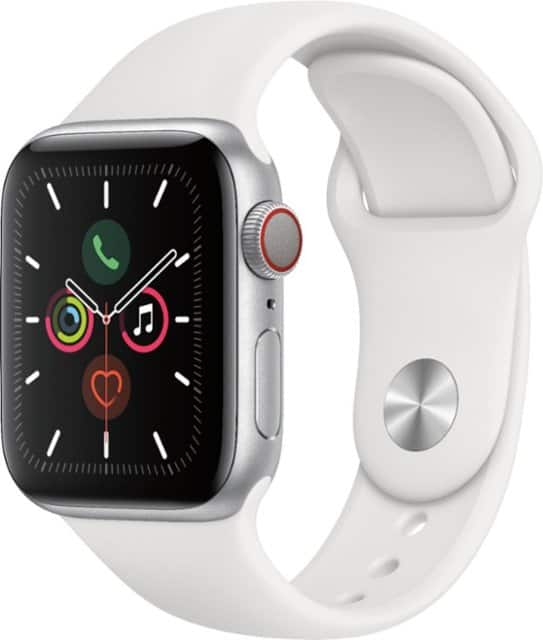 Apple Watch Series 5 (GPS + Cellular) 40mm Silver Aluminum Case & White Band (AT&T) $170 + tax