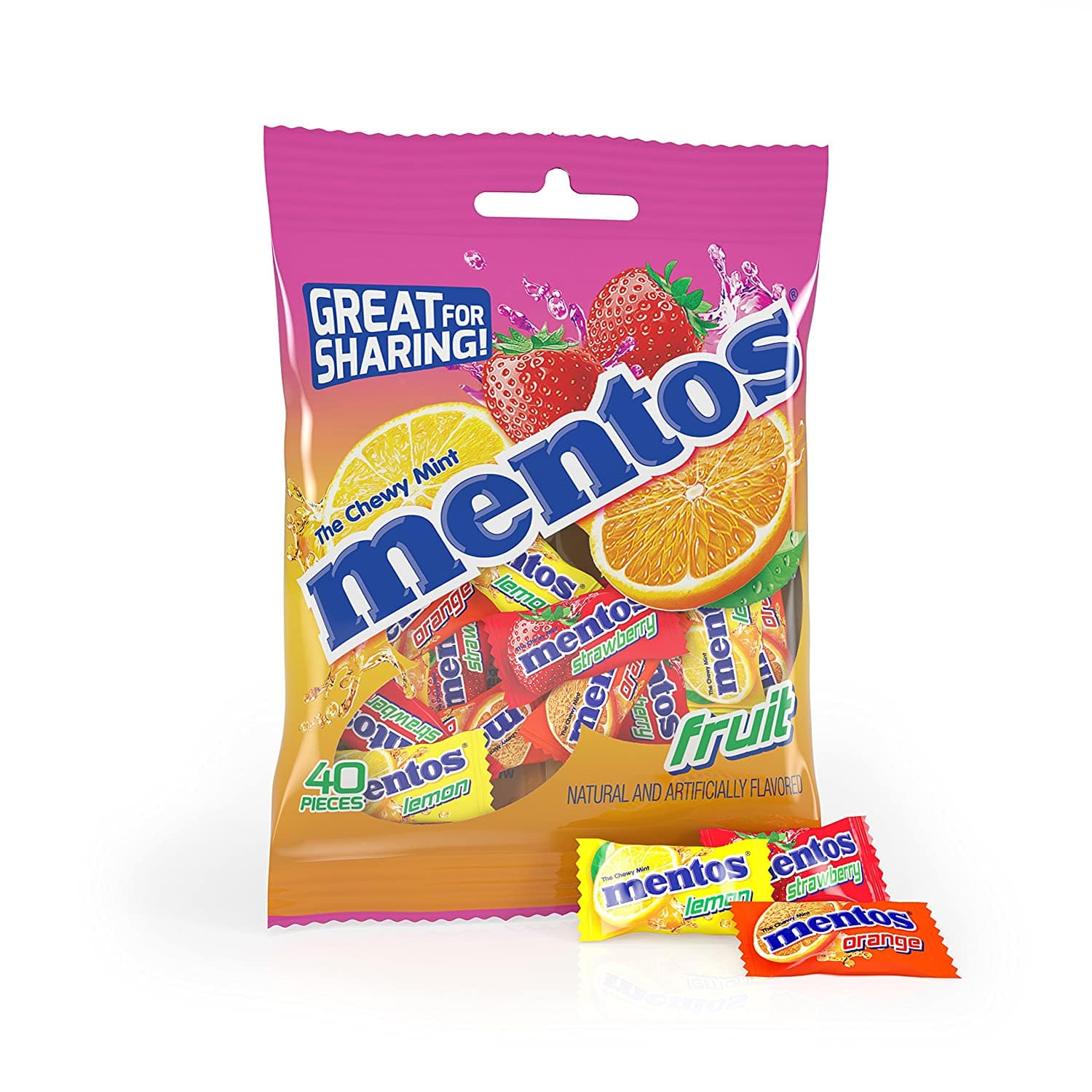 Mentos Chewy Mint Candy, Fruit, Individually Wrapped, 40 Piece Peg Bag, Pack of 12 for $14.22 AC @ Amazon