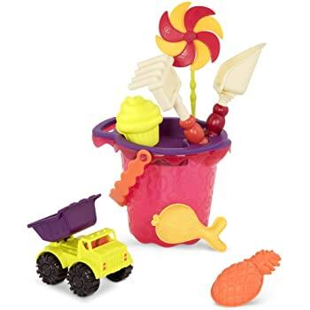 B. Toys Sands Ahoy  Beach Playset - Medium Bucket Set (Mango) with 9 Unique Sand And Water Toys for $8.99 @ Amazon