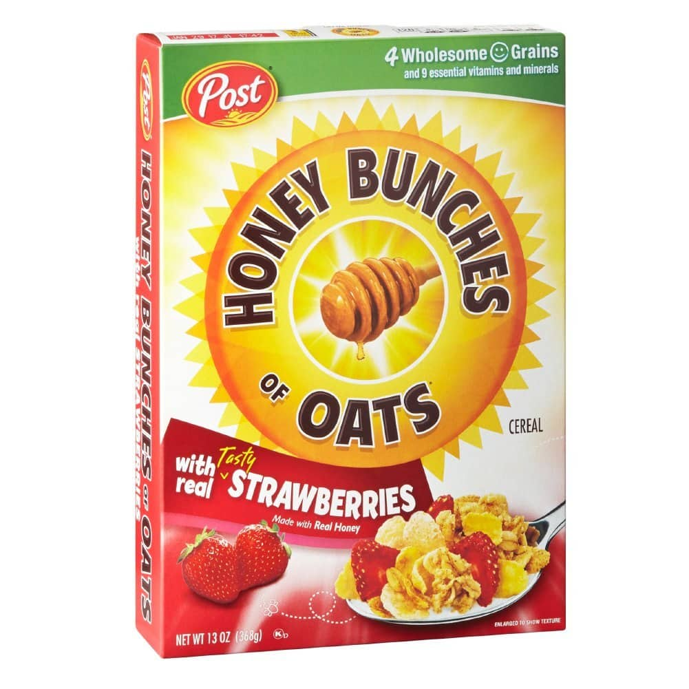 Post Honey Bunches of Oats Strawberry Breakfast Cereal, 13 Ounce, Pack of 12 for $23.88