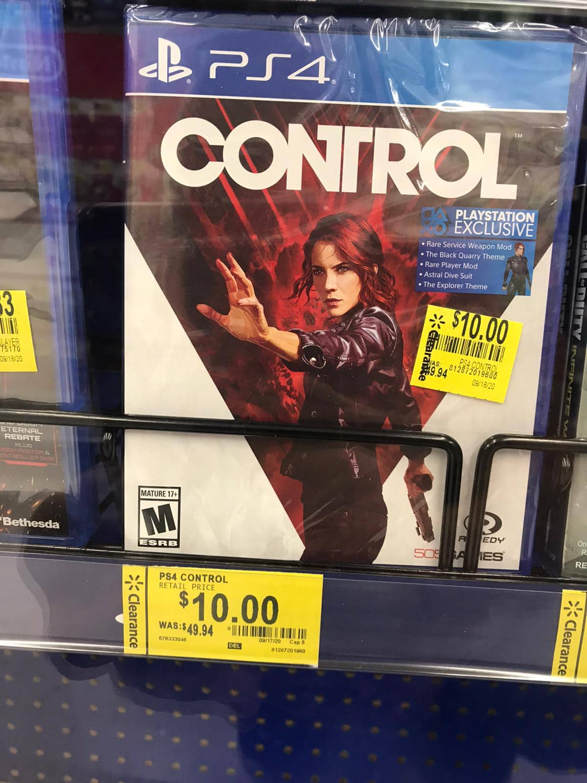 PS4 Game: Control for 10$. YMMV. Walmart. $10