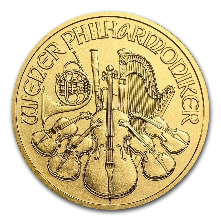 1 oz Gold Austria Philharmonic Coin Brilliant Uncirculated Bullion $1214.49 with 10% ebay bucks - way under spot