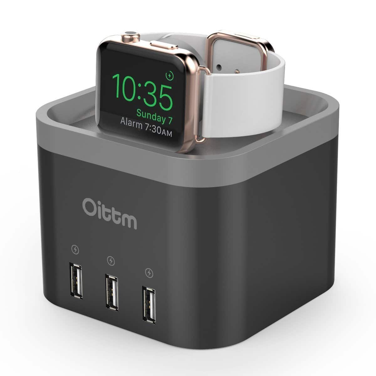 Oittm 4 Ports Desktop Smart Charging Station Nightstand Apple Watch Charger Dock - $21.99 AC+FS with prime or FSSS @Amazon