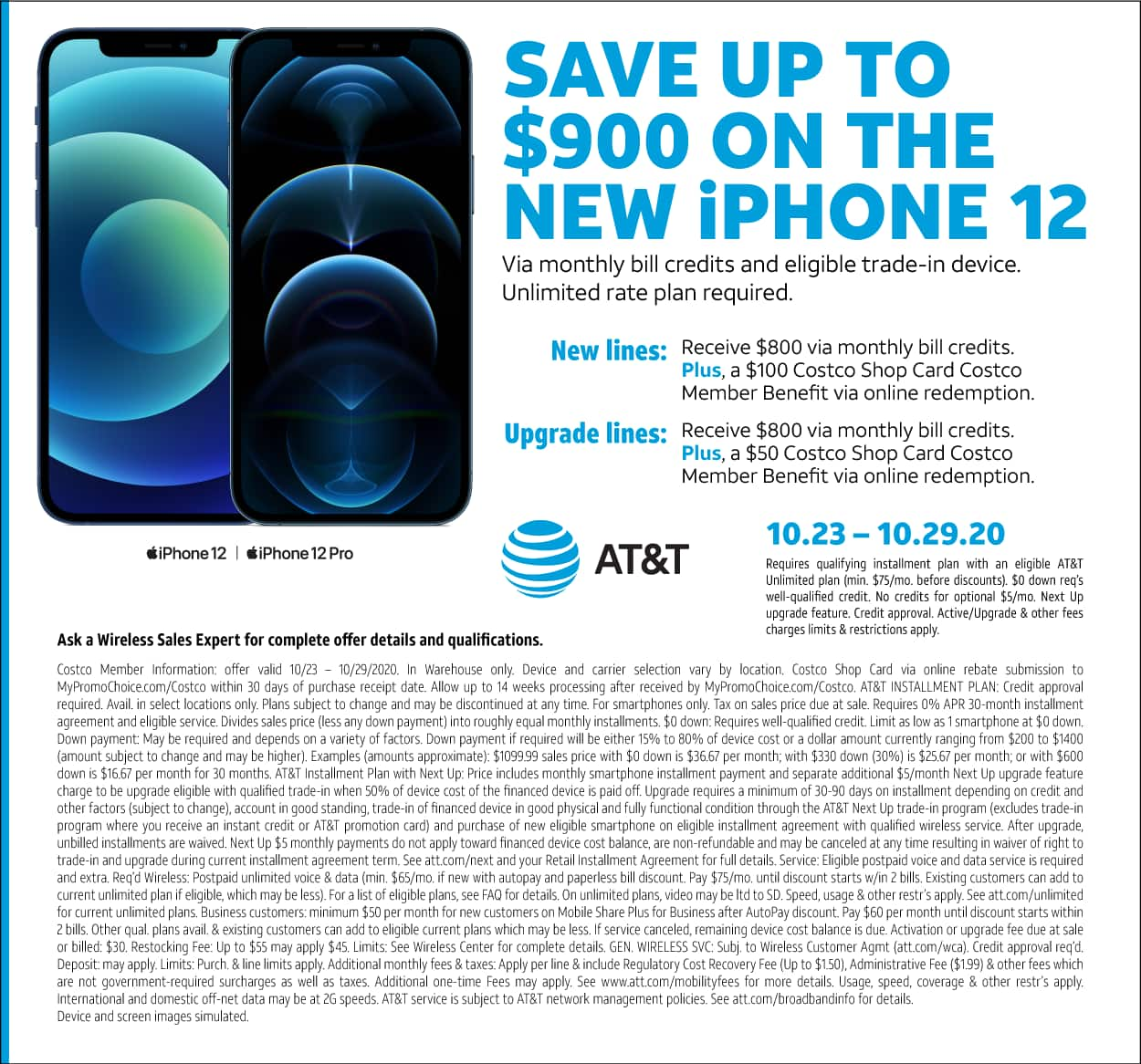 Costco Members Save Up To 900 On The New At T Iphone 12 Via Monthly Bill Credits
