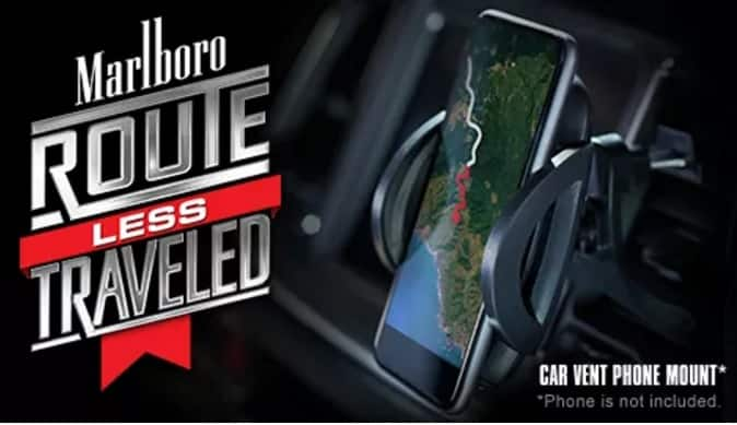 "Free Car Vent Phone Mount when you enter Marlboro ""Route Less Traveled"" (Smokers 21+; Excl MA, MI, VA) ~ 9/3/17 while supplies last"
