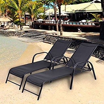2 Pcs Chaise Lounge Chairs W/ Adjustable Back Pool Patio Furniture Sling Chaise Lounges Recliner $129.99