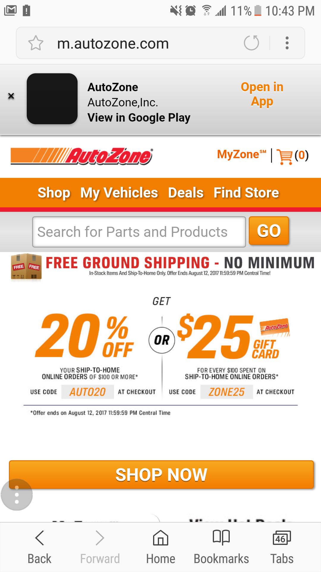 AutoZone Free Shipping - No minimum 0.00
