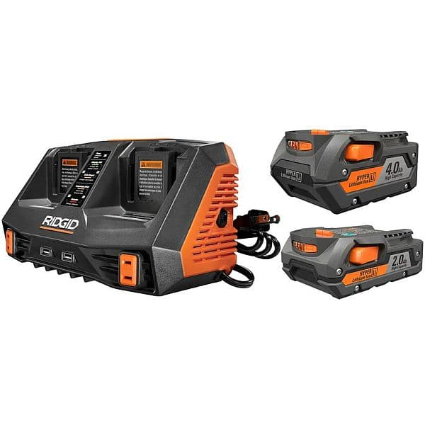 $99 FS RIDGID 18-Volt Lithium-Ion Dual Port Sequential Charger Kit with (1) 4.0Ah Battery and (1) 2.0Ah Battery
