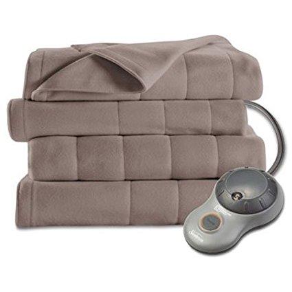 Sunbeam Quilted Fleece Heated Blanket, Queen, Mushroom, BSF9GQS-R772-13A00 [Mushroom, Queen] $49.99 +FS @amazon