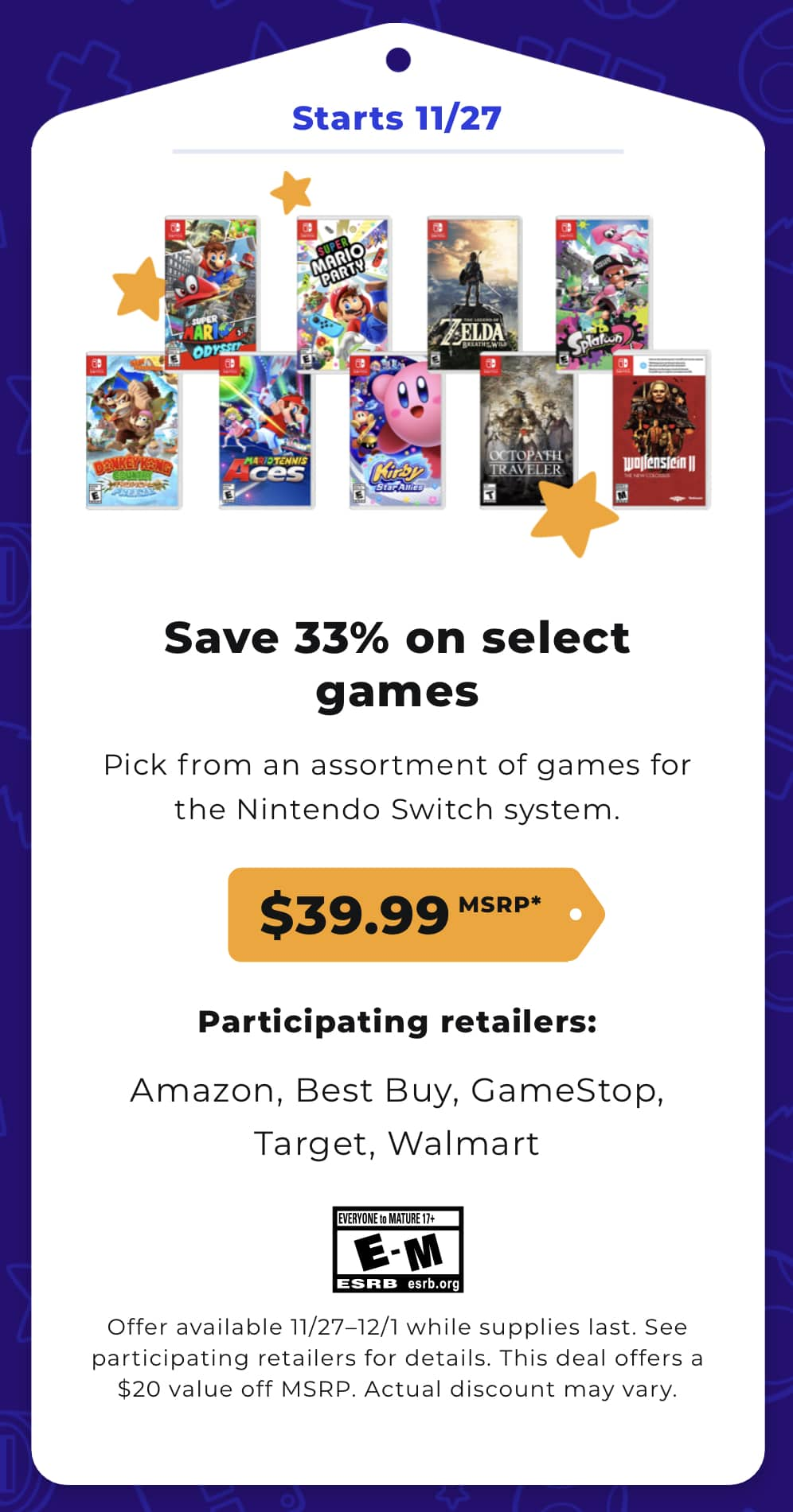 Switch games for 39.99 (11/27-12/1 2019) $39.99