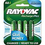 Walmart - Rayovac Recharge Plus 2400mAh NiMH AA Batteries, 4-Pack R2U $5 (YMMV )