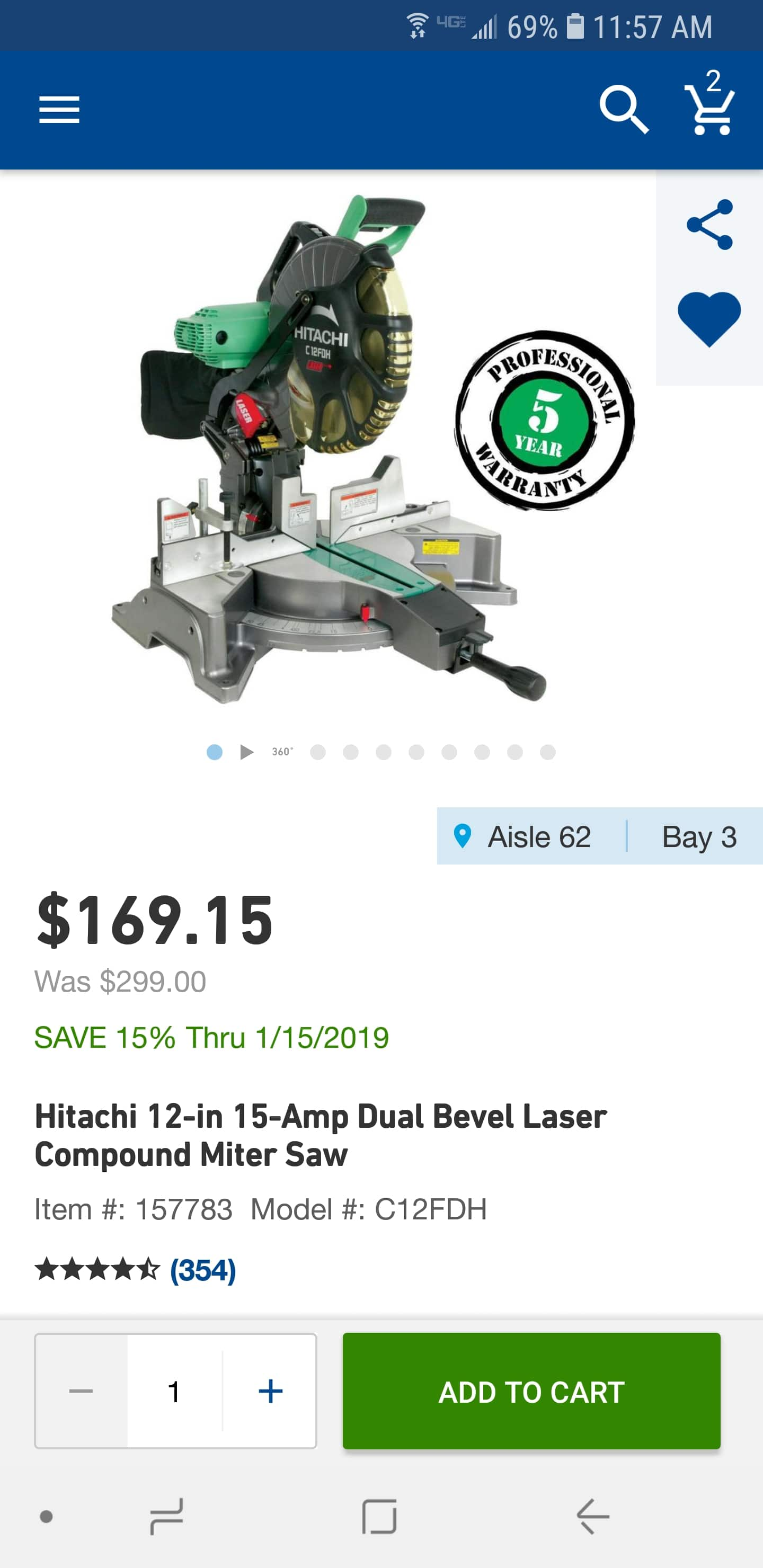 LOWE'S - Hitachi 12-in 15-Amp Dual Bevel Laser Compound Miter Saw $169.15